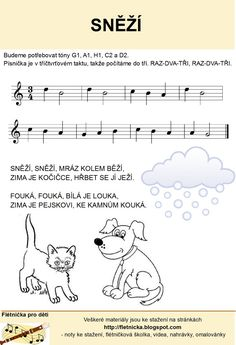 Flétnička: Sněží Kids Songs, Diy Crafts Videos, Activities For Kids, Sheet Music, Classroom, Education, Children, Ms, School