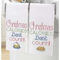Herrschners® Christmas Calories Don't Count Towel Pair Stamped Cross-Stitch
