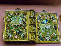 enameled girdle book cover. A cover like this would have contained a small book of psalms or prayers.