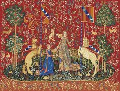 The Lady and the Unicorn Tapestry: Taste. (she's taking sweets from the bowl her maid is holding, and the monkey is in the corner eating)
