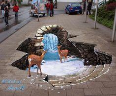 3D Street Art by Nikolaj Arndt - Deer chilling