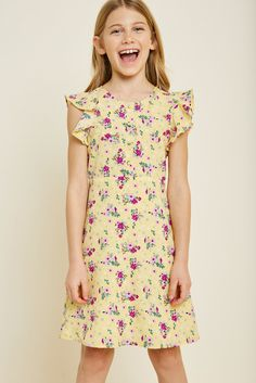 a8863d7d8117e Floral Button-Down Ruffle Sleeve Mini Dress