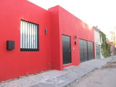 Gorgeous exteriors of houses in one of San Miguel's most beautiful neighborhoods, with a beautiful red exterior