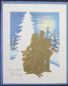 Vintage Christmas Greeting Card Couple in Gold Embossed Silouette White Tree