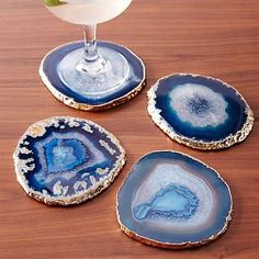 Agate Coasters (Set of 4) - Blue & Gold #westelm