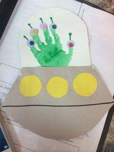 #toddlercraft #handprint #spaceship #alien Spaceship Craft, Alien Spaceship, Toddler Art, Toddler Crafts, Infant Activities, Preschool Activities, Space Projects, Art Projects, Alien Crafts