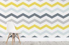 Yellow and Grey Chevron Wallpaper