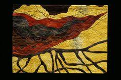 Dry Arroyo map art quilt by Quinn Zander Corum
