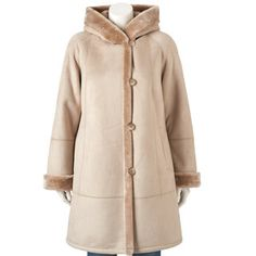 Plus Size Gallery Hooded Faux-Shearling Walker Coat