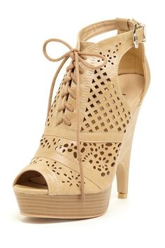 This is adorable - love the laser cut outs and neutral color! Bucco Em Cutout High Heel by Non Specific