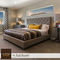 A platform bed, square lampshades, and geometric patterns work together to create a polished master bedroom. Master Bedroom Design, Home Bedroom, Bedroom Decor, Bedroom Ideas, Bedroom Color Schemes, Bedroom Colors, Window Behind Bed, Room Interior, Interior Design