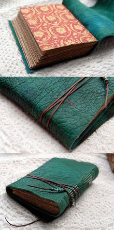 Distressed Leather Journal Emerald Dreams  Hand