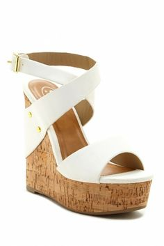 Wrapped Ankle Strap Wedge Sandal