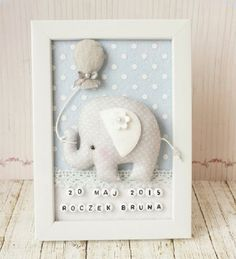 Słonik dla Bruna / Elephant for BrunoInspiruje Basia - Inspirations from BasiaBaby Decorative Frame New baby Personalised Felt box by TiTicsDoll World: modele, îmbrăcăminte, miniaturăBaby's name and date of birth Baby Crafts, Felt Crafts, Diy And Crafts, Baby Room Decor, Nursery Decor, Baby Frame, Felt Toys, Felt Ornaments, Box Frames