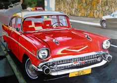 Red chvrolet old car Oil on canvas w70xh50cm 2016 1m art@ryair.co.il