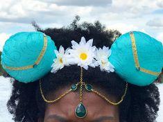 Floral and Jeweled Princess Jasmine Disney Ears, Princess Jasmine Mickey Ears with Jeweled Headpiece Disney Mickey Ears, Mickey Mouse Ears, Headband Wrap, Ear Headbands, Jasmine You, Chain Headpiece, Princess Jasmine, Black Felt, Disney Trips