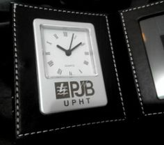engrave on leather standing clock
