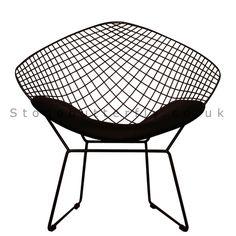 £69.95 Wire Diamond Chair, Harry Bertoia Inspired - Black Powered Coat With Black Cushion
