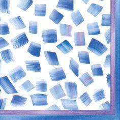 Caspari Sea Breeze Blue Geometric Printed 3-Ply Paper Cocktail Napkins Wholesale 13270C