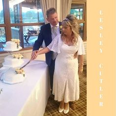 This beautiful lace dress with v-neckline and flowing soft elbow-length sleeves looks perfect on her. For petite brides getting the length of your dress right can prove challenging. but not when you have a Lesley Cutler bespoke gown! Petite Bride, Lace Dress, White Dress, Older Bride, Prom Dresses, Formal Dresses, Mother Of The Bride, Getting Married, Bespoke