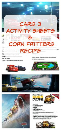 """Get ready for CARS 3 with this """"Build Your Own Race Course"""" Activity Sheets & delicious Corn Fritters Recipe. #Cars3 (In Theaters June 16, 2017)"""