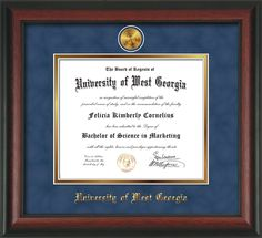 University of West Georgia Diploma Frame with elegant hardwood moulding and official embossing of University of West Georgia name and 24k UWG medallion - Blue Suede on Gold matting.  BA/MA/PhD Awesome graduation gift!
