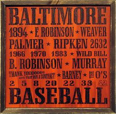 "Country Marketplace - Vintage Baltimore Orioles Baseball Wood Sign 18"" x 18"", $45.00 (http://www.countrymarketplaces.com/vintage-baltimore-orioles-baseball-wood-sign-18-x-18/)"