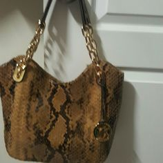 New, authentic Michael Kors Lilly Shoulder Bag Leather Python embossed with 4 inner pockets and also a zipper pocket Michael Kors Bags Shoulder Bags
