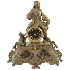 Late 19th Century French Mantle Clock with Seated Man Signed Paris 1