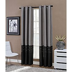 Horizon Embroidered Grommet 63-inch Window Curtain Panel | Overstock.com Shopping - The Best Deals on Curtains