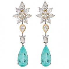 Paraiba tourmaline and diamond earrings by Marco Marchese