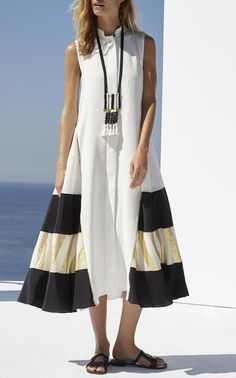 This Zeus + Dione Ionia Crepe De Chine Caftan features a block caftan design with metallic contrast fabric offering an architectural folkloric cut. Short Sleeve Dresses, Summer Dresses, My Style, Swimwear, Shopping, Clothes, Collection, Loewe, Athens