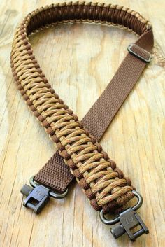 Adjustable Paracord Rifle Gun Sling Strap With Swivels Copperhead & Dark Brown