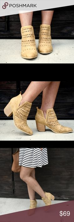 CAMEL COLOR BOOTIES These booties will never come off your feet!  The laser cutout detail makes it Summer appropriate, perfect for little dresses and denim shorts.  You will definitely wear them in the Fall with your skinnies and sweaters!  You'll love em! No Trades. Bundle for a discount💗  True to SIze.  Synthetic Upper.  3 inch heel.  Slips on. Shoes Ankle Boots & Booties