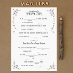 Rustic Mad Libs ... are a fun activity for guests at any wedding event, such as an engagement party, bridal shower or bachelorette party. This can also be a wonderful substitute for a wedding guest book at a wedding reception. Wedding guests will surely be entertained while writing down their best advice. The couple will have a great keepsake item to read back on anniversaries or date nights. Wedding Guest Book, Guest Books, Engagement Parties, Mad Libs, Rustic Weddings, Rustic Mad, Wedding Guests, Printabl, Bridal Showers