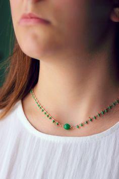 Green Necklace, Short Necklace, Drop Necklace, Gemstone Necklace, Beaded Necklace, Gold Necklace, Sailor Knot Bracelet, Nautical Bracelet, Turquoise Gemstone