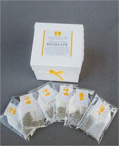 tea wedding favors #weddingfavors #weddingideas #weddingchicks http://www.weddingchicks.com/2014/03/12/santa-barbara-yellow-and-gray-wedding/