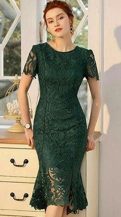 Buy Embroidery Slim Lace Short Sleeve Mermaid Bodycon Dress, Fashion Designed Embroidery Slim Lace S Body Con Dress, Dress Up, Tight Dresses, Dresses With Sleeves, Lace Dress Styles, Lace Dresses, Sheath Dresses, Dress Lace, Dress Brokat
