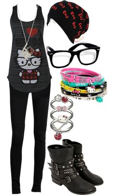 "Am I too old for this???  ""Hello Kitty 3 3 3"" by vladimir4657 ❤ liked on Polyvore"
