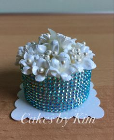 White Floral Aqua-bling Tea Light Cake w/handmade paper flowers (made by Kim)