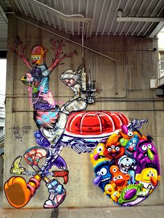 David Choe is a renowned graffiti artist, painter, American muralist and graphic novelist. Murals Street Art, 3d Street Art, Amazing Street Art, Street Art Graffiti, Street Artists, Amazing Art, David Choe, Graffiti Artwork, Mural Art