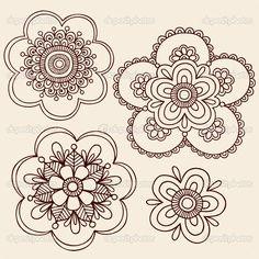 Hand-Drawn abstract henna mehndi tattoo flower mandala medallion designs- paisley doodle- vector illustration design element with swirls in background Henna Tattoo Hand, Henna Mehndi, Flor Henna, Henna Tatoos, Girly Tattoos, Henna Art, Flower Tattoos, Mehendi, Mandala Tattoo