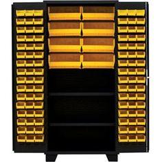 "Jamco Bin Cabinet DN248-BL - 14 ga. All Welded 2 Shelves 140 Bins 48""W x 24""D x 78""H Black"