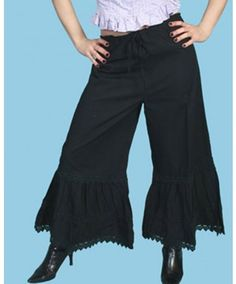 Scully Women's Black Bloomers #Vintage #retro #ruffles #lace