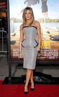 Jennifer Aniston Cocktail Dress  Jennifer Aniston wore this peplum herringbone dress to the 'Wanderlust' premiere.  Brand: Tom Ford
