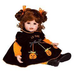 Adora Baby Doll Jolly Jack-o-Lantern (Red Hair/Brown Eyes) Baby Girl Dolls, Toddler Dolls, Child Doll, Red Hair Ties, Hair Ribbons, Porcelain Dolls Value, Porcelain Dolls For Sale, Red Hair Brown Eyes, Halloween Doll