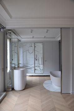 Ideas For Bathroom Classic Wood Floors Wood Bathroom, Bathroom Flooring, Small Bathroom, Chevron Bathroom, Neutral Bathroom, Marble Bathrooms, Bathroom Ideas, Marble Interior, Bathroom Interior Design