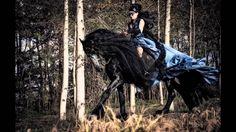 Annathetekken Gothic Halloween backstage mistery woman & Friesian Horse