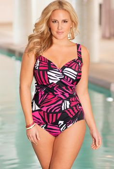 74996e2a8b Penbrooke Pink Lion Queen Plus Size Surplice Swimsuit - swimsuitsforall  Women Accessories