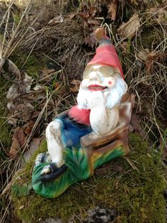May 5, 2013. #Urban garden allotment in Helsinki, Finland. Garden gnome basking in the midday sun.